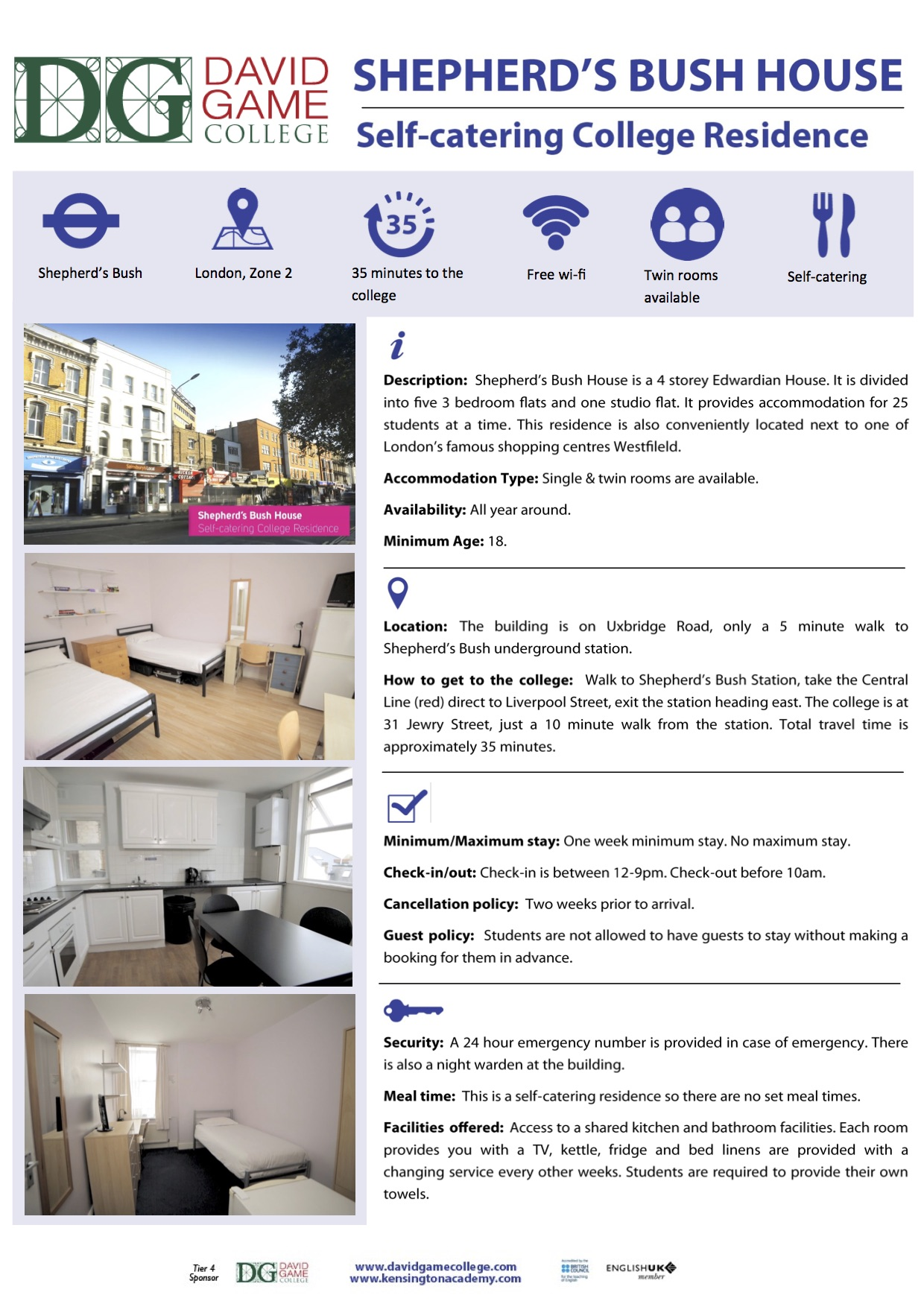 Shepherds Bush House info sheet - copie